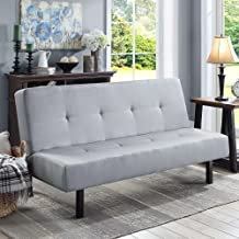 Gray Functional 3-Position Tufted Futon, Padded Cushions, Sturdy Square Metal Legs & Metal Frame, Plush Microfiber Upholstery, Ideal As a Sofa, Lounger & Sleeper, Amazing & Comfortable
