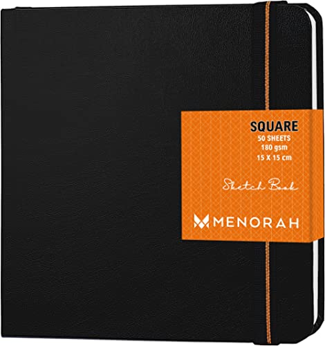 MENORAH - Sketch Book for Artist - Square - 180 GSM - Square Sketchbook - for Drawing - Hard Bound - 100 Pages/50 She...
