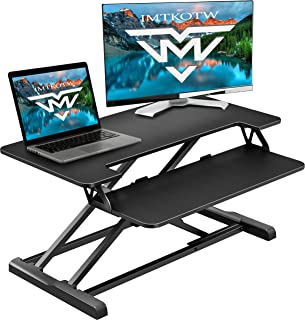 IMtKotW Height Adjustable 32 inches Standing Desk Converter,Home&Office Workstation with Removal Keyboard Tray,Ergonomic Tabletop Workstation,Black