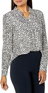 Amazon Brand - Lark & Ro Women's Georgette Long Sleeve Button Up Woven Top