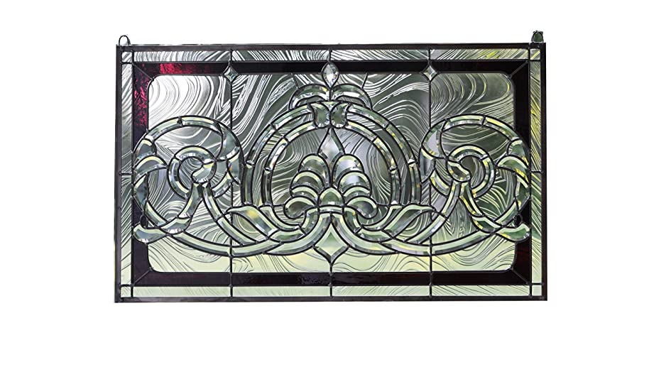 Tiffany Style stained glass Clear Beveled window panel 34.5