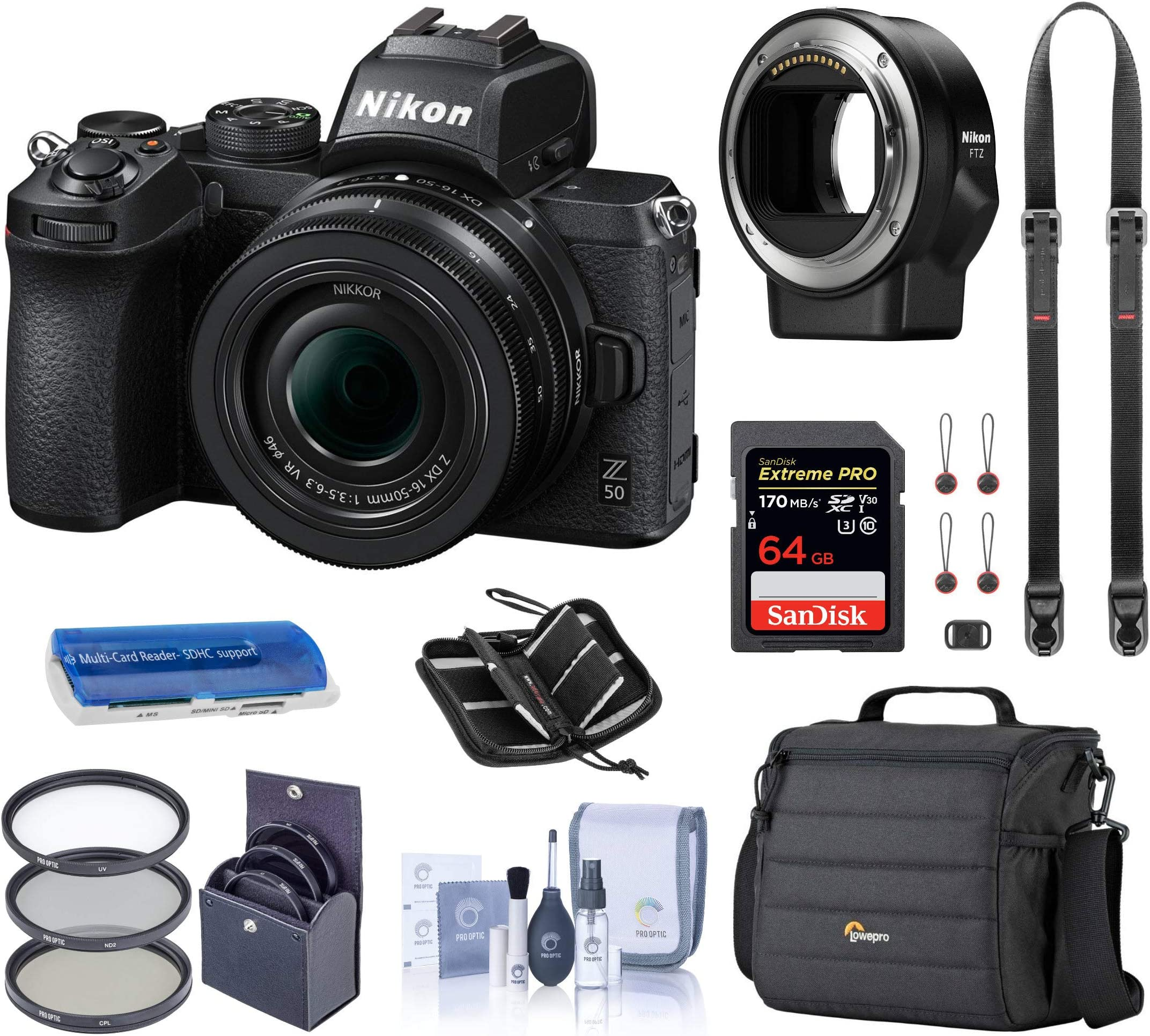 Nikon Z 50 DX-Format Mirrorless Camera with 16-50mm VR Lens, Essential Bundle with FTZ Mount Adapter, Case, Filter Kit, 64GB SD Card, Neck Strap and Accessories