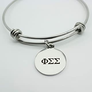 Phi Sigma Sigma Sorority Bracelet Silver Stainless Steel Expandable Bangle Greek Life Bid Night Gift Big Little Sister