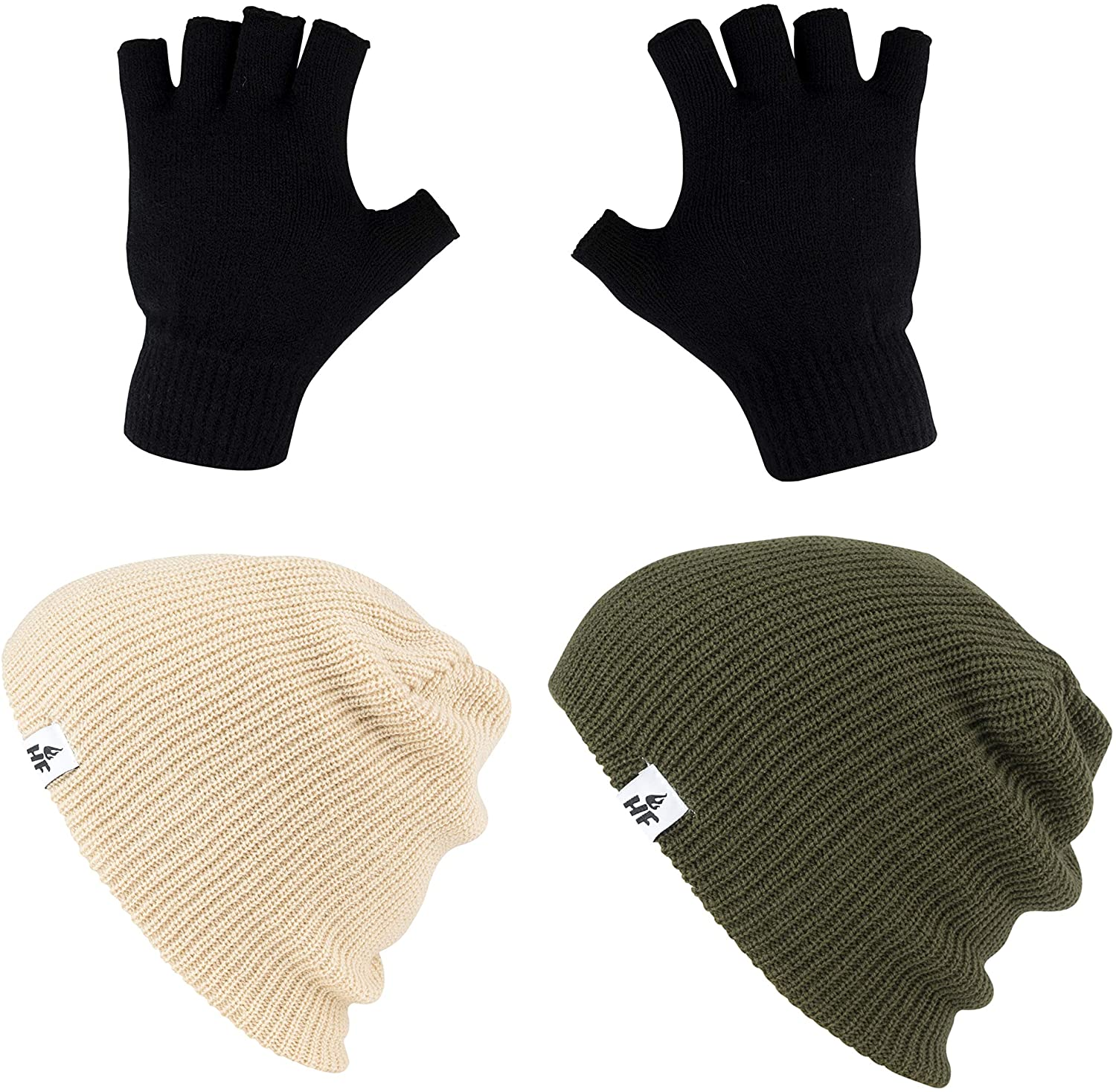 HOT FEET Winter Beanies and Gloves | Warm Knit Men's and Women's Snow Hats and Gloves/Caps | Unisex Pack/Set of 3