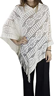 StylesILove Womens Crochet Floral Design Knit Fringe Poncho Pullover Cape, 7 Colors