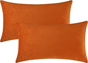 Mixhug Set of 2 Cozy Velvet Square Decorative Throw Pillow Covers for Couch and Bed, Velvet, Orange, 12 x 20 Inches,2 Pieces