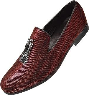 Shane Dress Shoes for Men Thine Tone Striped Metallic Formal Slipper Loafers with Gold/Silver Chain Tassel Slip-on Slippers for Men The Original Smoking Men Tuxedo Dress Shoes