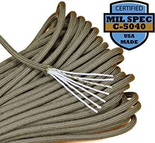 Bored Paracord 550lb Paracord/Parachute Cord - Genuine Mil Spec Type III 550lb Paracord Used by The US Military (MIl-C-5040) - 100% Nylon - Made in The USA - Khaki