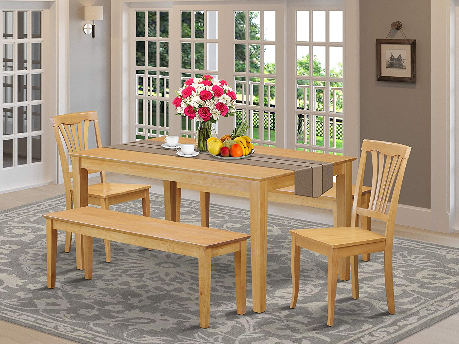 East West Furniture Wooden Dining Table Set 9 Piece   Wooden Kitchen Chairs  Seat   Oak Finish Small Rectangular Dining Table and Bench