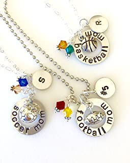 Hand Stamped Sports Mom Necklace, Personalized Sports Necklace, Football, Soccer, Basketball, Wrestling Mom Necklace, Jersey Number/Player's Initial, Team Colors.