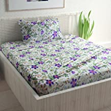 Divine Casa Sense Cotton BedSheet with 1 Pillow Cover - Floral, Green and Purple