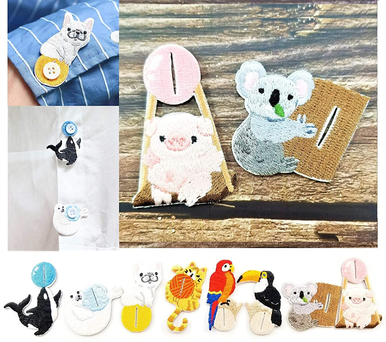 2 Pieces Embroidered Patches Shirt Button Accessories Various DIY Cloth Art Embroidery Decoration Super Cute Fashion Stylish Accessories for Kids and Adult (Koala Bear & Pink Piggy)