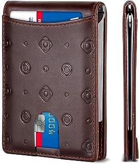 SERMAN BRANDS RFID Blocking Slim Bifold Genuine Leather Minimalist Front Pocket Wallets for Men with Money Clip Thin Mens,...