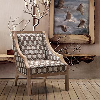 Armen Living LCSA1CR Sahara Side Chair in Multi-colored Fabric and Oak Wood Finish