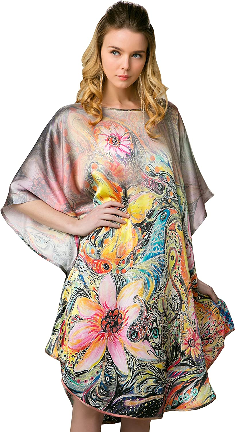 100% Pure Silk Nightgowns Batwing Sleeved Classic Sleepwear