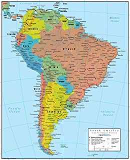 Swiftmaps South America Wall Map GeoPolitical Edition by (36x44 Laminated)