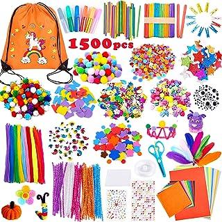 Yetech Pipe Cleaners Crafts Set pour Enfants,1500+ PCS Fil Chenille Pompon Bâtons d'artisanat de Bricolage Activites manue...