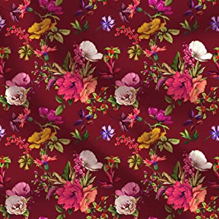 Indian Cotton Handmade Floral Print Fabric for Dressmaking Sewing Crafting Width- 44