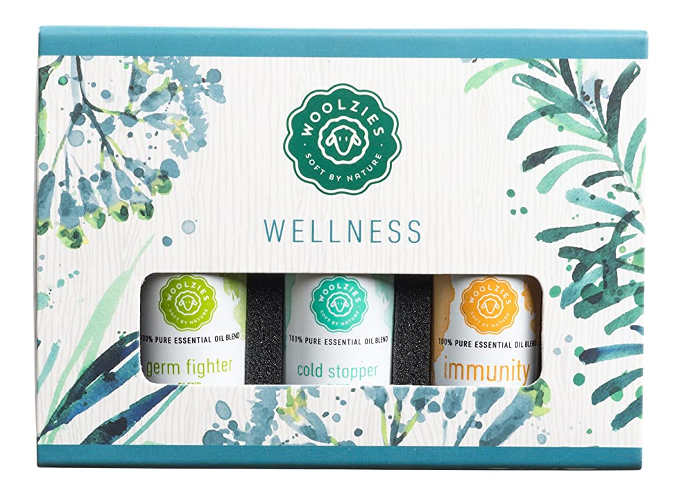 Woolzies Pure,Therapeutic Wellness Essential Oil Set Germ Fighter Blend, Immunity Booster Blend, Cold Stopper Blend oi
