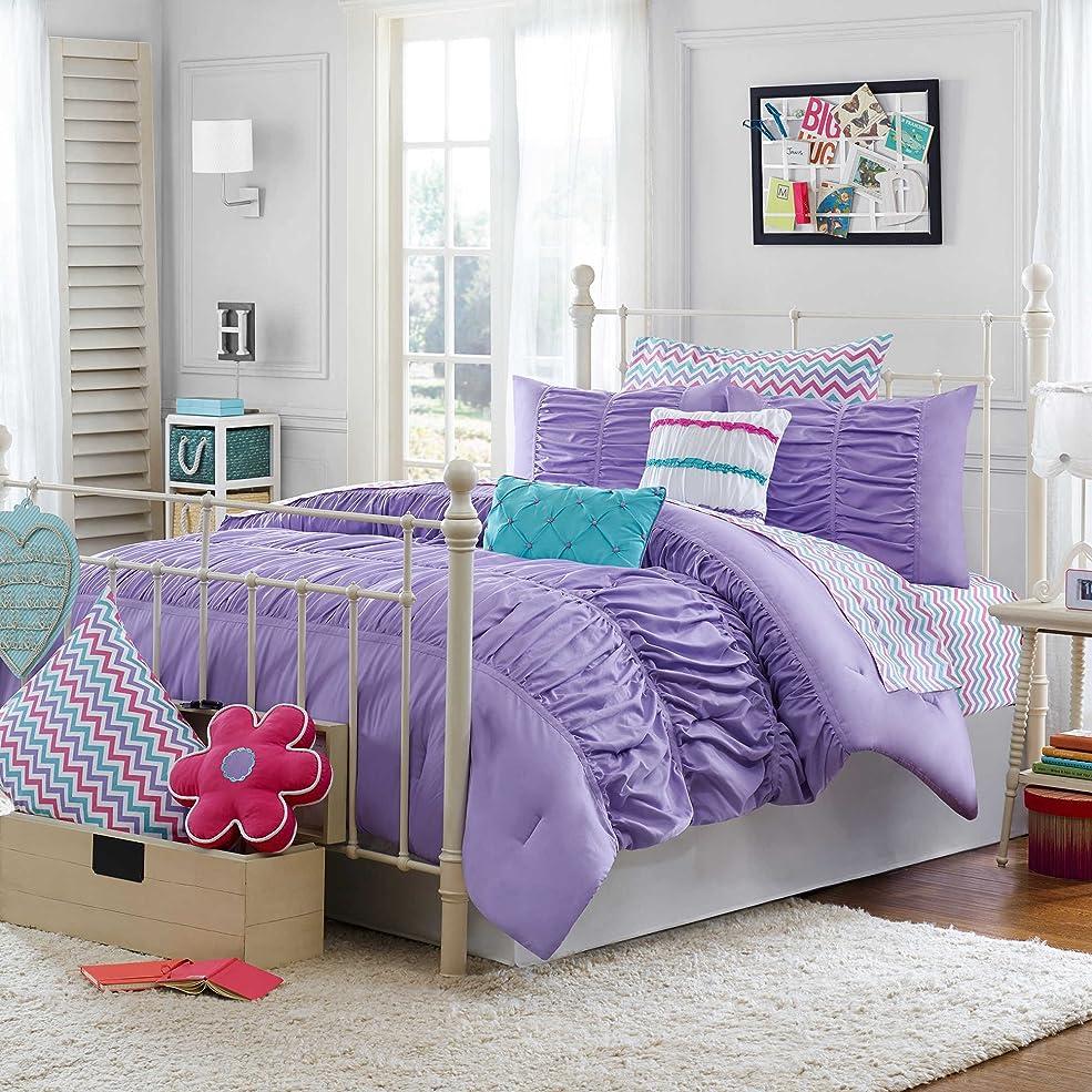 エキゾチックしかし微視的Julissa Kids美しいスタイリスト明るいパープルフリルBedding Comforter Set for Girls ( 2?Piece in aバッグ) Full/Queen パープル