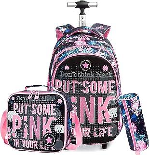 حقيبة ظهر للبنات للبنات للبنات الصغار حقائب ظهر للمدرسة بعجلات عربة سفر سفر الأمتعة مع صندوق الغداء