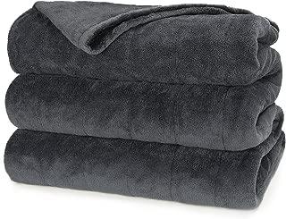 Sunbeam Heated Blanket | Microplush, 10 Heat Settings, Slate, King - BSM9KKS-R825-16A00
