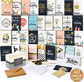 $25 » Happy Birthday Cards Assortment - Bday Cards in Bulk - 5x7 Assorted Variety Box Set 40 Pack Unique Designs with Envelopes - Birthday Card for Men Women Kids - for Office - Greeting Message Inside