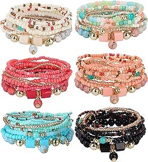 6 Sets Bohemian Stackable Bead Bracelets for Women Men Multilayered Bracelet Set Pendant Charm Stretch Bangles