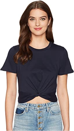 J.O.A. Twisted Front Short Sleeve Crop Tee