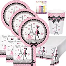 Party in Paris Party Plates Napkins Cups and Table Cover Serves 16 with Birthday Candles - Party in Party Party Supplies P...