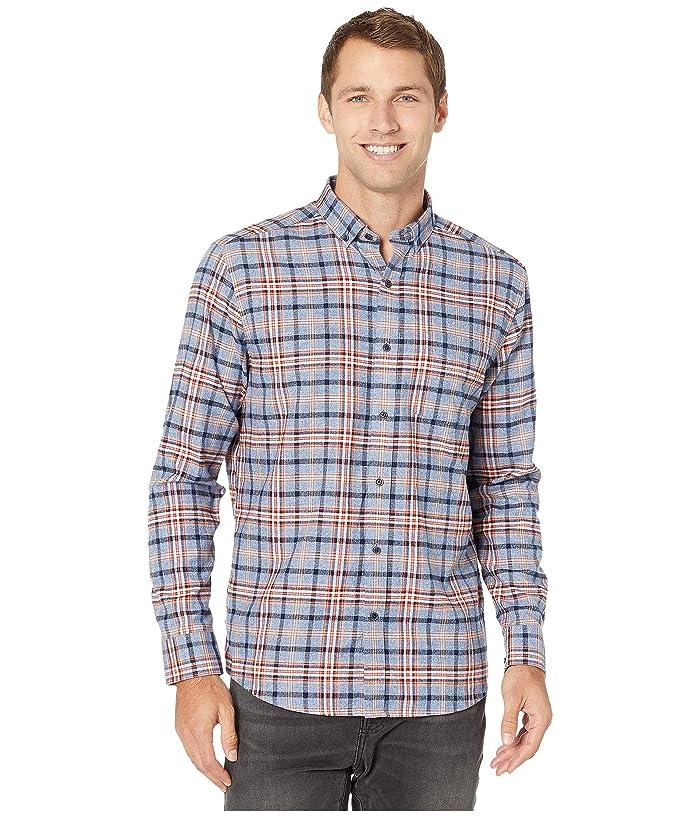 Johnston and Murphy  Brushed Heather Large Plaid Shirt (Blue) Mens Clothing