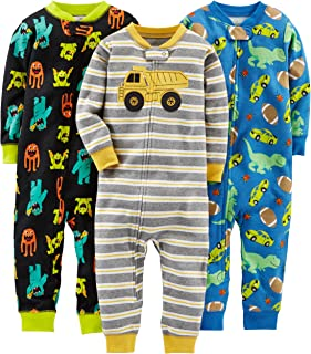 Baby Boys' Toddler 3-Pack Snug Fit Footless Cotton Pajamas, Monsters/Dino/Construction, 3T
