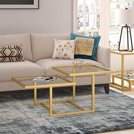 Amazon Com Henn Hart Modern Chic 2 Tier Coffee Table For Living Room 18 H X 43 L X 23 W Golden Brass Furniture Decor