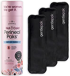 GentlePack Reusable Perineal Ice & Heat Packs with Washable Sleeves for Postpartum, Pregnancy & Hemorrhoid Pain Relief, Multi Use Kids, Children, Muscle, Migraine, Groin, Vaginal Discomfort 3 Pack