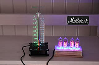 Millclock Set of The IN-13 Nixie Tubes Room Thermometer with Black Enclosure and IN-14 Nixie Tubes Clock with Wooden Enclosure A Properly Assembled in Ukraine