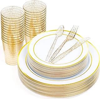 Matana 25 Assiettes en Plastique Dur Transparentes Jetables 26 cm Occasions R/é utilisable /& Recyclable Design /é l/é gant avec de Paillettes dor Assiettes de F/ê te pour Restauration Mariages.