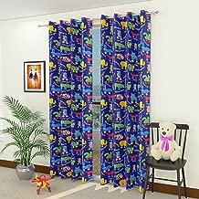 Homefab India Polyester 2 Piece Animal Design Kids Curtain - 7 Ft, Blue