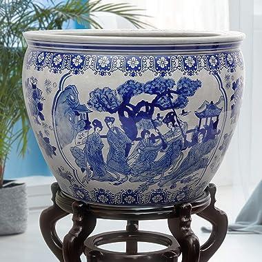 "Oriental Furniture 16"" Ladies Blue & White Porcelain Fishbowl"