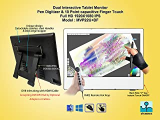 Yiynova MVP22U+DF Full HD Pen/Finger Touch Tablet Monitor,IPS Panel, With 5V3A USB, Detachable Cables.(Most Compatible with Windows 10 or above)(Yiynova Cloud PC Ready)