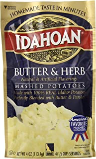 Idahoan Mashed Potatoes, Butter and Herb, 4 Ounce (Pack of 12)