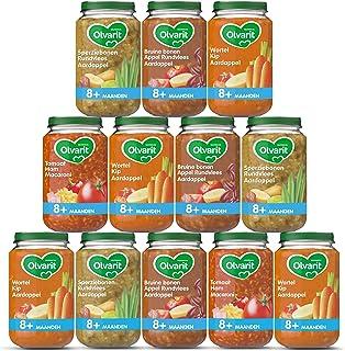 Olvarit Variatiemenu Maaltijd - babyhapje voor baby's vanaf 8+ maanden - 4 verschillende smaken babyvoeding - 12 maaltijdp...