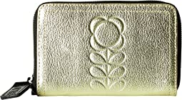 Orla Kiely - Embossed Flower Stem Leather Medium Zip Wallet