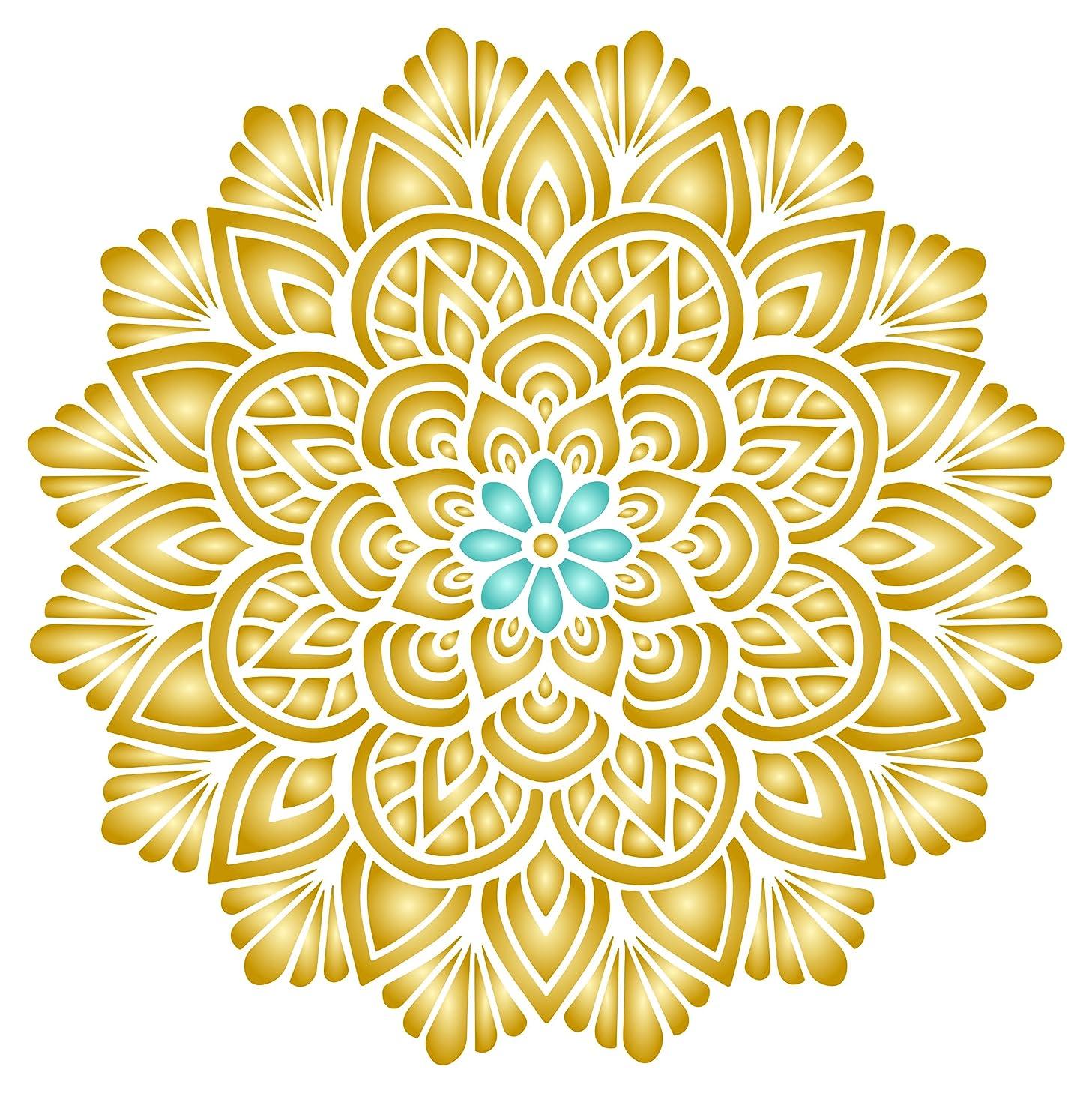 Lotus Mandala Stencil - 10 x 10 inch (M) - Reusable Asian Indian Mantra Hindu Spiritual Wall Stencil Template - Use on Paper Projects Scrapbook Journal Walls Floors Fabric Furniture Glass Wood etc.