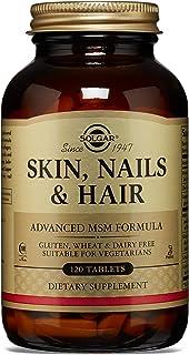 Solgar® Pelo, Piel y Uñas, 120 Comprimidos - Mantenimiento de pelo, piel y uñas con brillo. Contiene vitamina C para la formación de colágeno. Apto para veganos