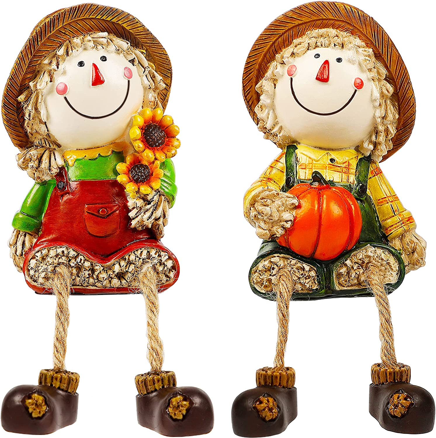 Lulu Home Fall Figurines, Set of 2 Resin Scarecrow Shelf Sitters with Dangling Legs, Fruit Harvest Sculpture for Window Sill Kitchen Tabletop Autumn Home Decoration