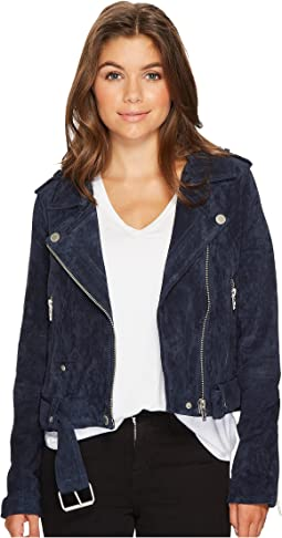 Blank NYC Navy Blue Moto Jacket in Blue Valentine