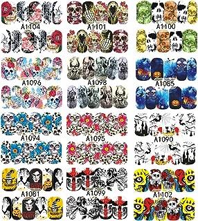 Tvoip 12 Sheet Nail Art Water Transfer Decals Nail Sticker Halloween Skull Bone Clown Tattoo Sliders For Nails Accessories