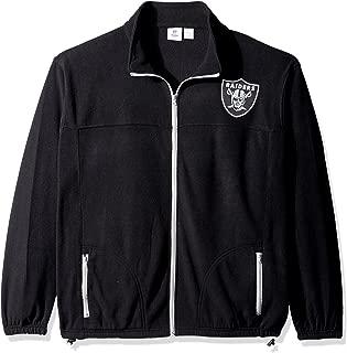 NFL Oakland Raiders Men FULL ZIP POLAR FLEECE, BLK/GRY, 4X