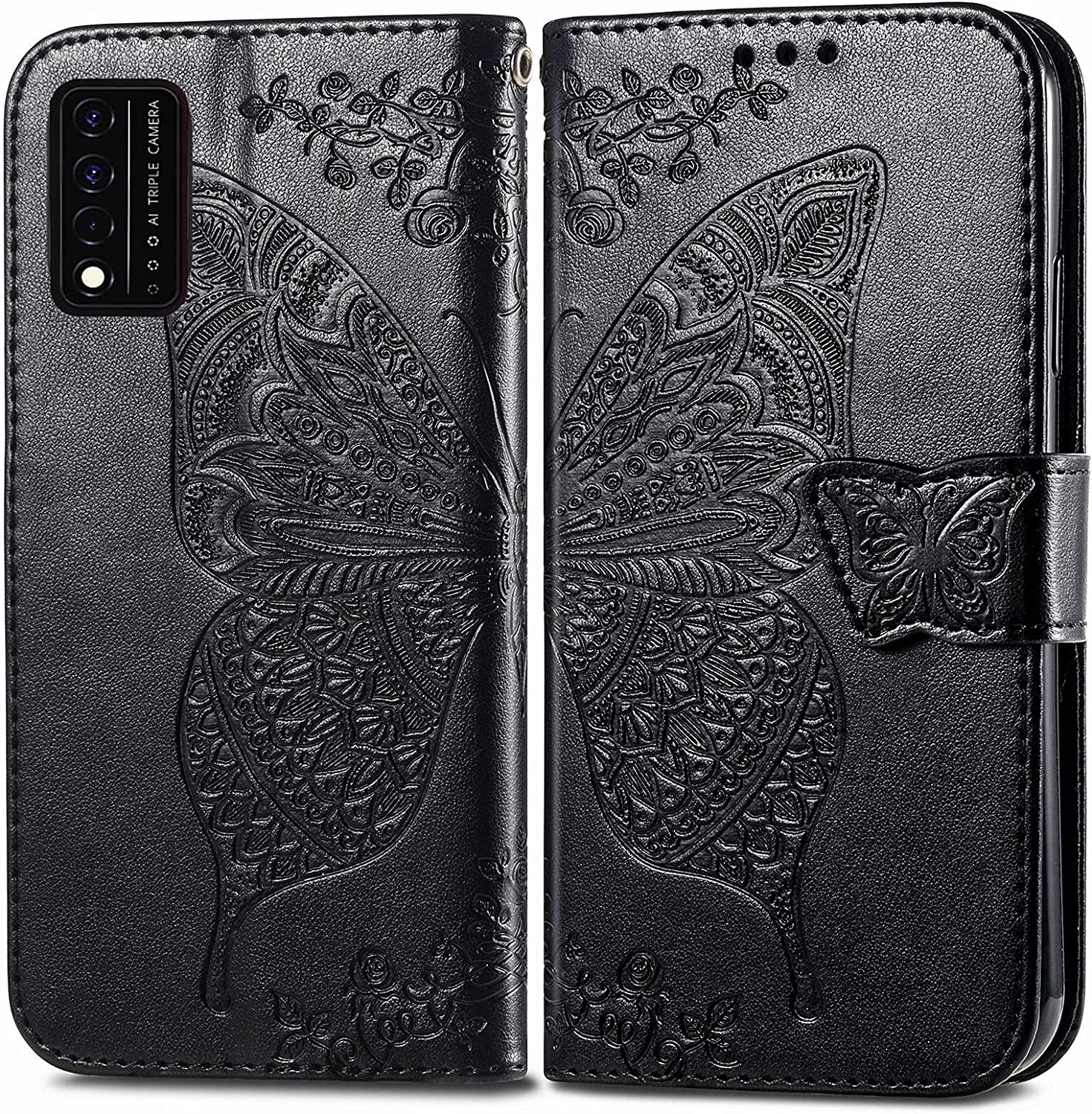 DAMONDY Case for T-Mobile Revvl V Plus 5G,PU Leather Butterfly Embossed Flowers Magnetic Flip Cover Stand Card Holders Hand Strap Wallet Purse Case for T-Mobile Revvl V Plus 5G -Black