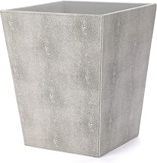 WV Faux Shagreen Leather Trash Can, Waste Basket, Waste Paper Bin, Magazine Holder PU Leather for Home& Office (Ivory)